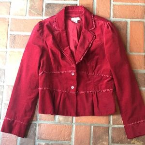 Ruby red women's blazer from Anthropologie